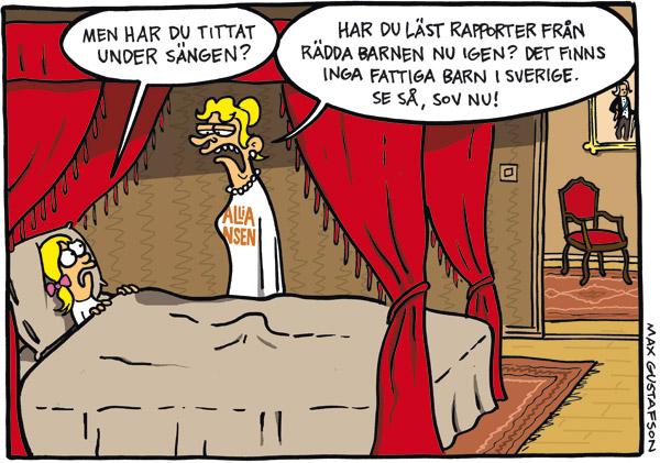 Satirteckning om alliansens förnekande av barnfattigdom i Sverige. Av serietecknaren Max Gustafson.