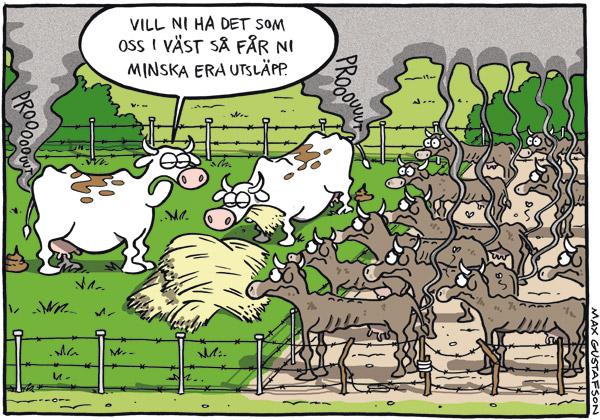 Satirteckning om orättvis fördelning av klimatansvar. Av Max Gustafson - serietecknare.