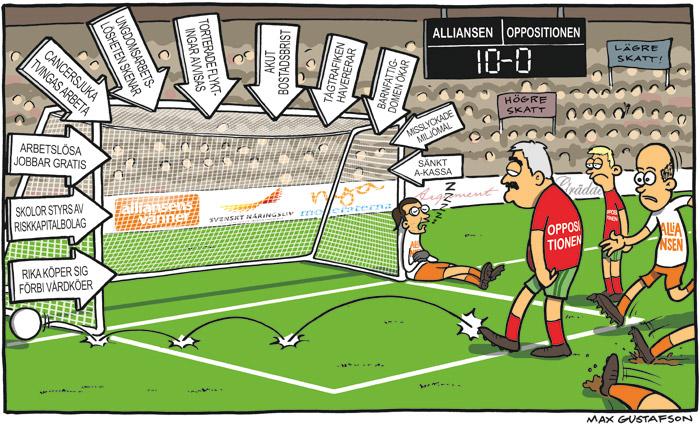 Satirteckning om slapp kritik mot borgerlig politik. Av Max Gustafson - serietecknare.