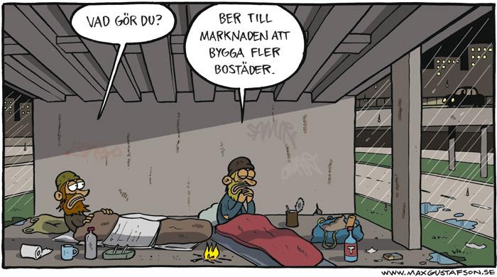 Satirteckning om synen på marknaden som en oreglerbar, högre makt. Av Max Gustafson - serietecknare.