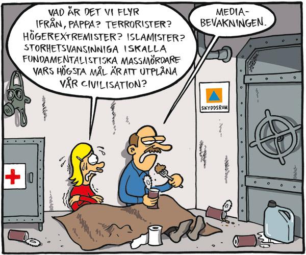 Satirteckning angående medias ältande om Anders Behring Breivik. Av Max Gustafson - serietecknare.