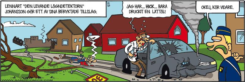 Skämtteckning om rattfylla, av Max Gustafson - serietecknare.