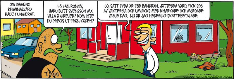 Satirteckning om svensk kriminalvård, av Max Gustafson - serietecknare.