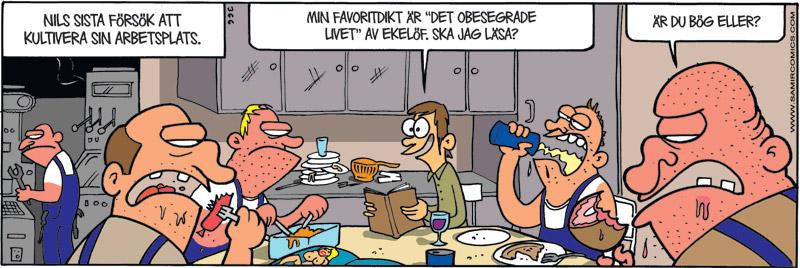 Satirteckning om inskränkthet på arbetsplatsen, av Max Gustafson, serietecknare.