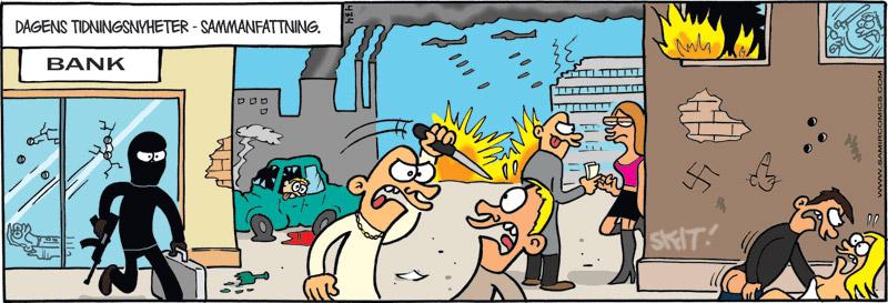 Satirteckning om dystra nyheter i nyhetspressen, av Max Gustafson - serietecknare.