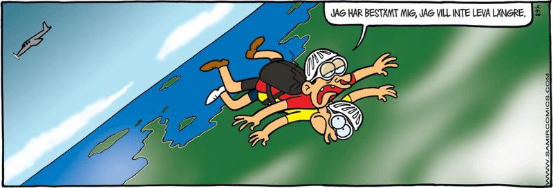 Skämtteckning om fallskärmshoppande självmordskandidat, av Max Gustafson - serietecknare.