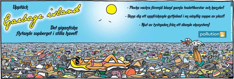 Satirisk reklam om sopor i havet, av Max Gustafson, serietecknare.