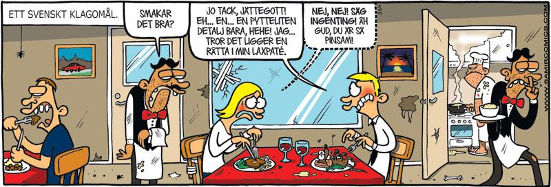 Satirteckning om svensk konflikträdsla. Av Max Gustafson, serietecknare.