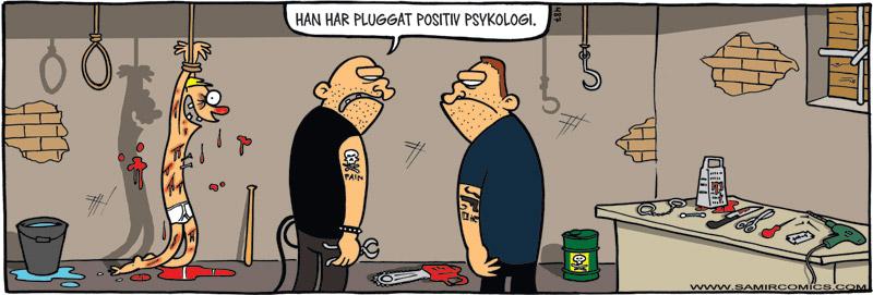 Skämtteckning om positiv psykologi, av Max Gustafson - serietecknare.