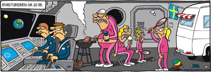 Skämtteckning om rymdturism, av Max Gustafson, serietecknare.