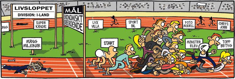 Satirteckning om dagens karriärhets, av Max Gustafson, serietecknare.