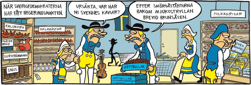 Satirteckning om sverigedemokraternas önskesamhälle, av Max Gustafson, serietecknare.