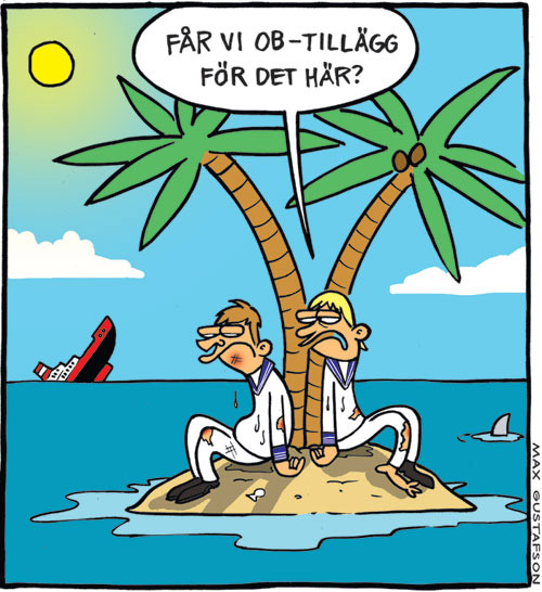 Satirteckning om dålig arbetsmiljö, av Max Gustafson, serietecknare.