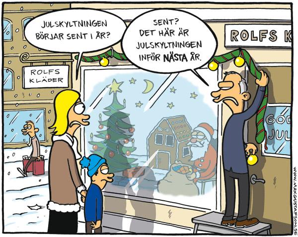 Satirteckning om överdimensionerad julhandel. Av Max Gustafson - serietecknare.