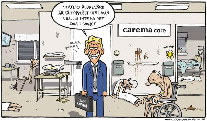Satirteckning om riskkapitalism i äldrevården. Av Max Gustafson - serietecknare.