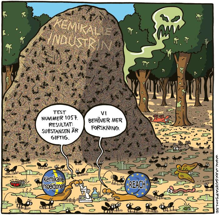 Satirteckning om inkompetent kemikalielagstiftning. Av Max Gustafson - serietecknare.