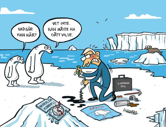 Satirteckning om demoraliserad miljöpolitik. Av Max Gustafson - serietecknare.