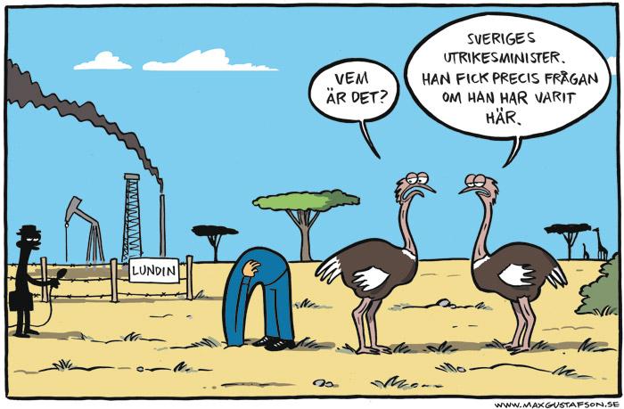 Satirteckning om förnekelse. Av Max Gustafson - serietecknare.