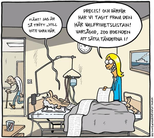 Satir om valfrihet. Av Max Gustafson - serietecknare.