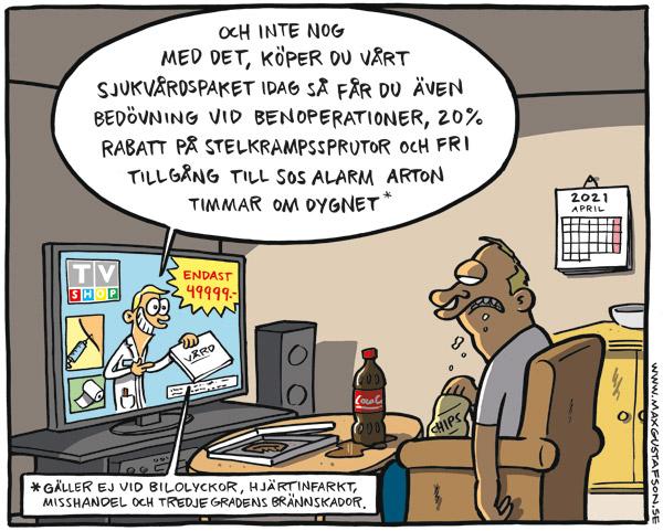 Politisk satir om vinst i vården, av Max Gustafson.