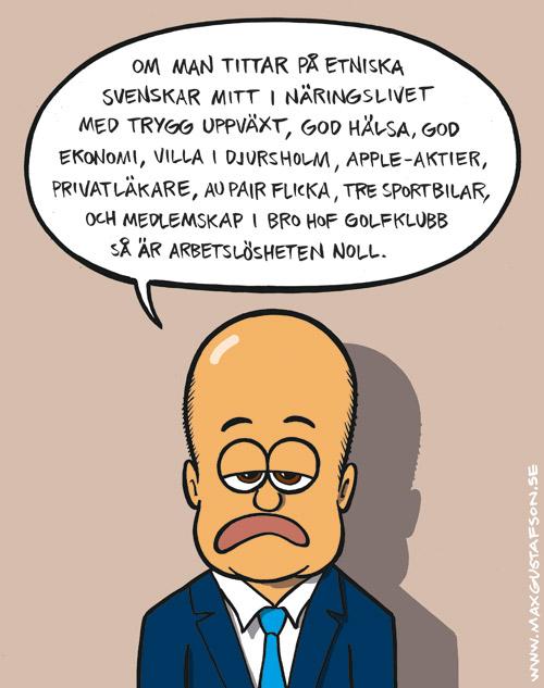 Satirteckning om Fredrik Reinfeldts trixande med statistik. Av Max Gustafson.