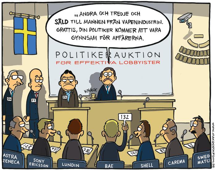 Politisk satir om lobbyism. Av Max Gustafson, serietecknare.