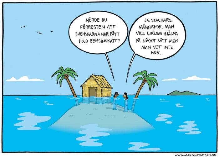 Satirteckning om globalt klimatansvar. Av Max Gustafson, serietecknare.