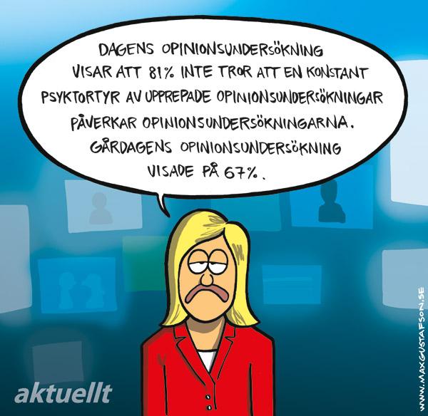Satirteckning om opinionsundersökningar. Av Max Gustafson.