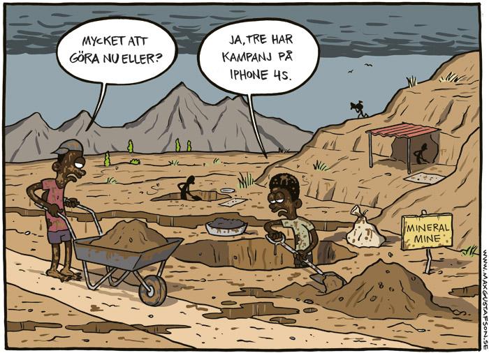 Om barnen som gräver fram mineralerna till din mobil och dator. Satirteckning av Max Gustafson.
