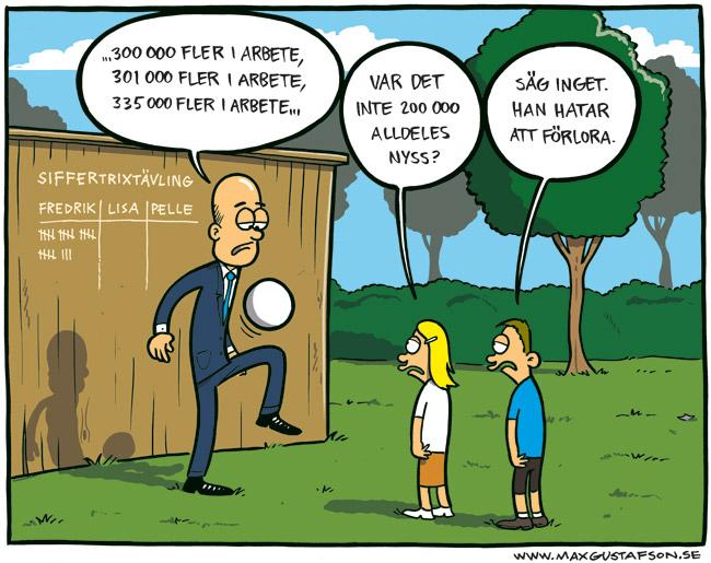 Satirteckning om Fredrik Reinfeldts trixande med statistik. Av Max Gustafson