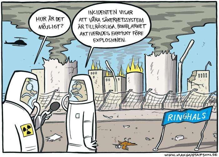 Satirteckning angående sprängdegen på Ringhals kärnkraftverk. Av Max Gustafson