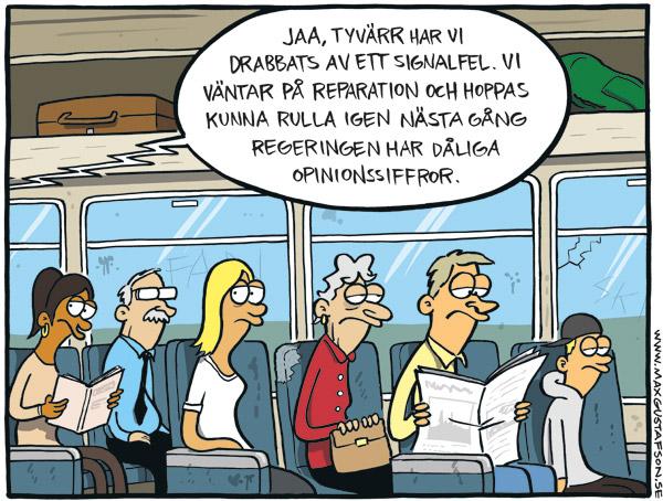 Om regeringens halvhjärtade försök att bemöta människors missnöje med tågtrafiken. Av Max Gustafson