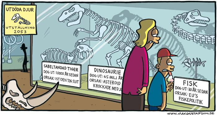 Satirteckning om utfiskningen. Av Max Gustafson.