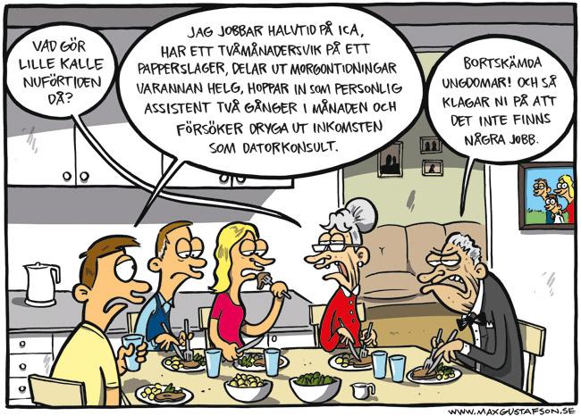 Satirteckning om vår uppluckrade arbetsmarknad. Av Max Gustafson.