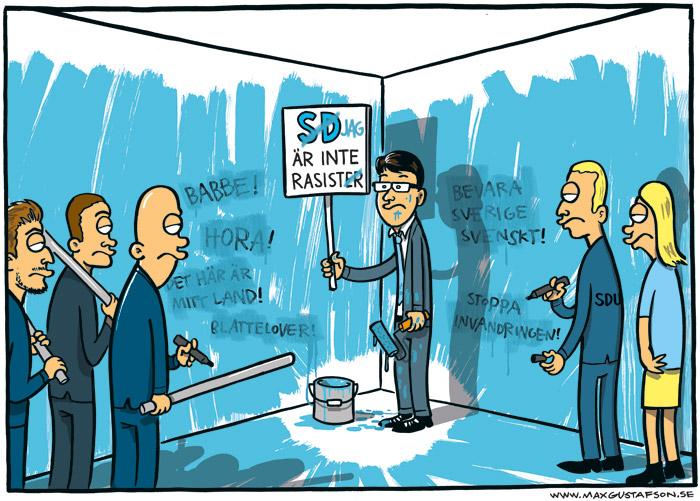 Satirteckning om Sverigedemokraternas inbillade icke-rasism. Av Max Gustafson.