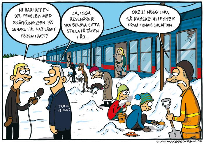 Satirteckning om sveriges urspårade tågverksamhet. Av Max Gustafson.