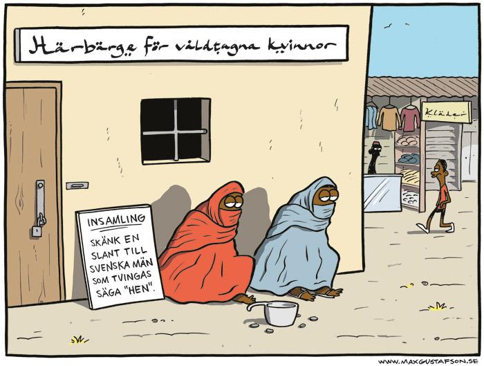 Satirteckning om svenska mäns oproportionerliga lättkränkthet. Av Max Gustafson.