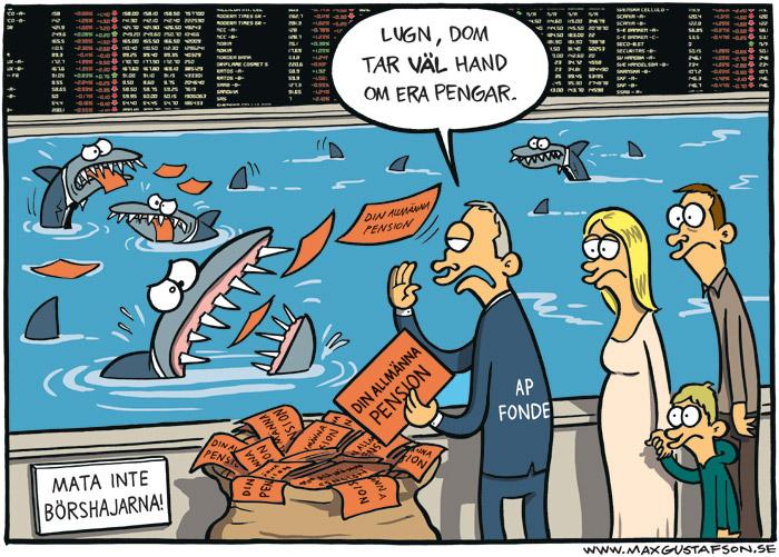 Satirteckning om spekulationen med våra pensionspengar. Av Max Gustafson.