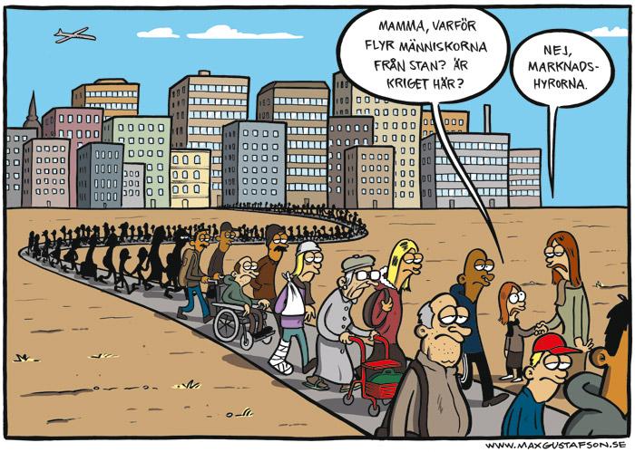 Satirteckning om den fria marknadens inverkan på hyrestagare. Av Max Gustafson.