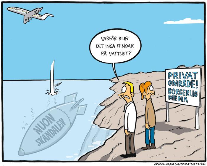 Satirteckning om Vattenfalls skandalaffär. Av Max Gustafson.
