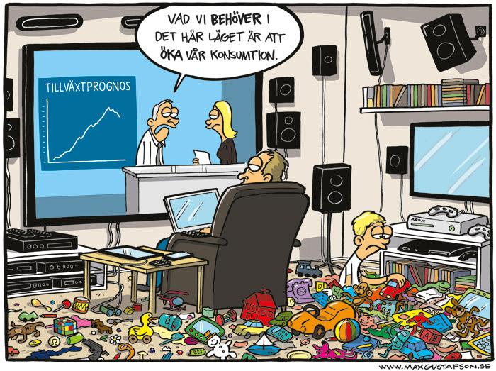 Satirteckning om konsumtionssamhället. Av Max Gustafson.