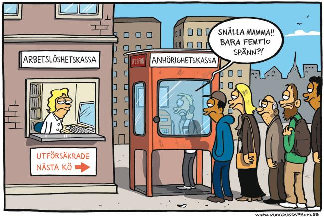 Satirteckning om vår raserade A-kassa. Av Max Gustafson.