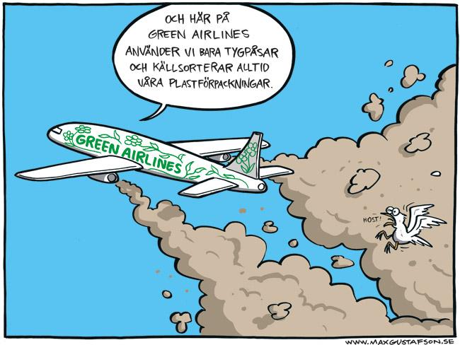 Satirteckning om greenwashing. Av Max Gustafson.