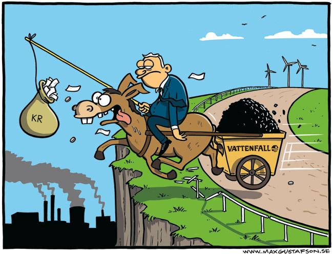 Satirteckning om vårt statliga energibolags moraliska kollaps. Av Max Gustafson.