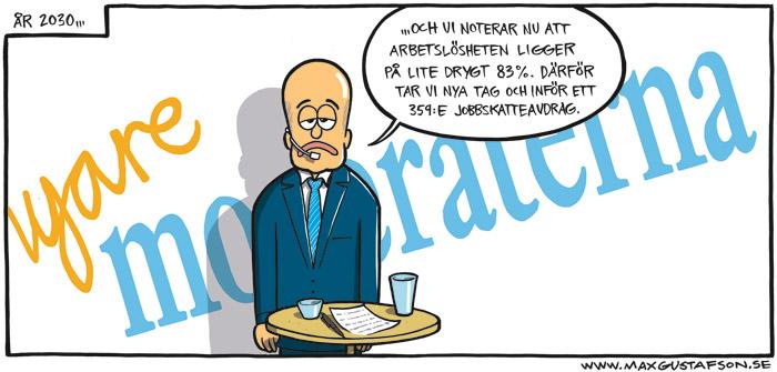 Satirteckning om moderaternas visionslöshet. Av Max Gustafson.