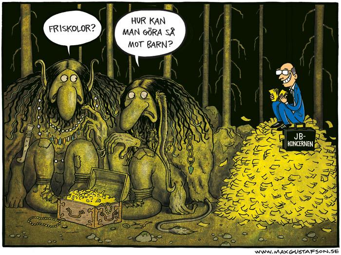 Satirteckning om friskolan John Bauergymnasiet. Av Max Gustafson.