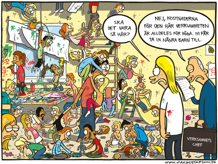 Satirteckning om nedskärningar i förskolan. Av Max Gustafson.