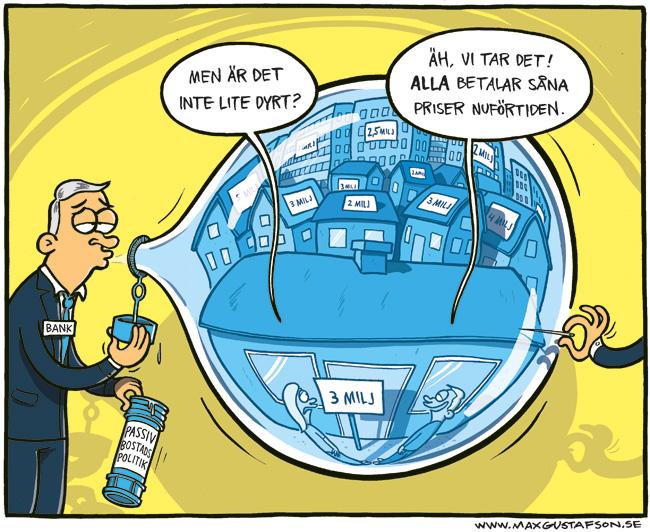 Satirteckning om den svenska bostadsbubblan. Av Max Gustafson.