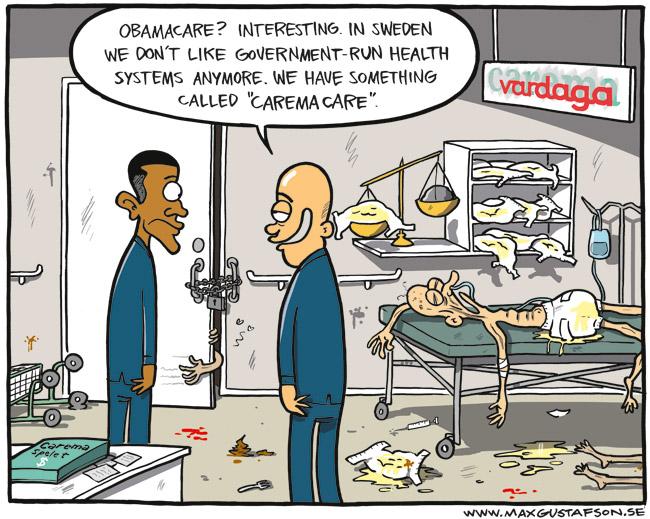 Satirteckning rörande det svenska sjukvårdssystemet. Av Max Gustafson.