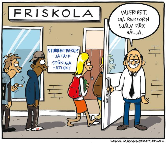Satirteckning om friskolornas sortering av elever. Av Max Gustafson